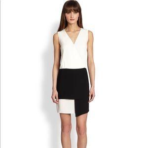 Tibi Bibelot Black and White Colorblock Wrap Dress
